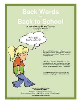 Back Words for Back to School:    A Vocabulary Brain Teaser
