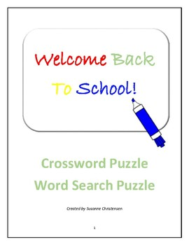 Back for School Activities for Students in Grades 4-8