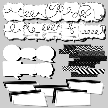 Back to Basics Black and White Clipart Set
