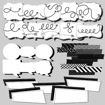 Back to Basics Black and White Clipart Set