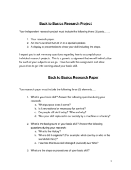 Back to Basics Research Project