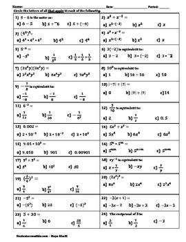 Back to Basics Worksheet II