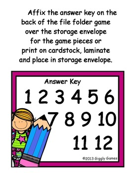 Back to Class Missing Numbers File Folder Game