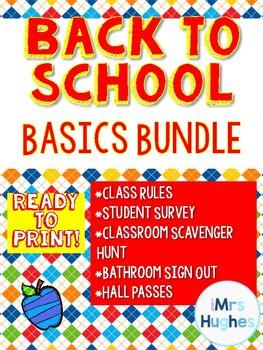 Back to School Basics Bundle!  Survey! Rules! Sign Out Sheet!