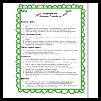 Back to Middle School: Policies & Procedures Notes, Teacher Guide, Quiz