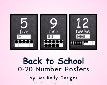 Back to School 0-20 Number Posters