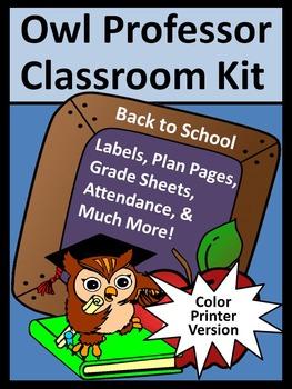 Owl Professor Teacher Binder, Lesson Planner, & Classroom Kit