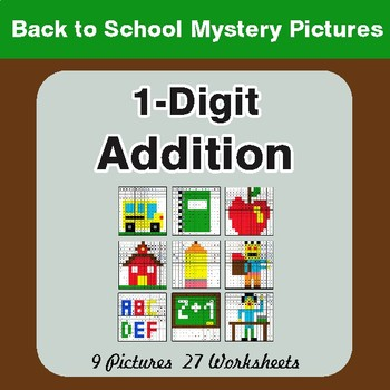 Back to School: 1-Digit Addition - Color-By-Number Math Mystery Pictures