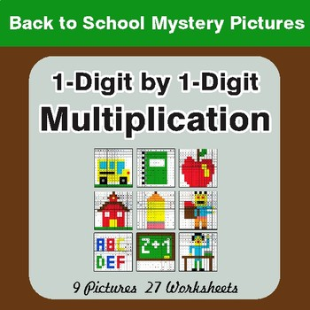 Back to School: Multiplication Math Mystery Pictures (1-Digit x 1-Digit)
