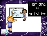 Back to School- 1 List and 4 Activities