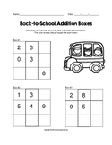 Back-to-School 1 and 2 Digit Addition Boxes Puzzle Worksheet