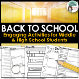 Back to School /Beginning of the Year Activities - Middle & High School Students