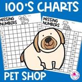 Back to School 100 Chart Missing Number Worksheets Pet Shop