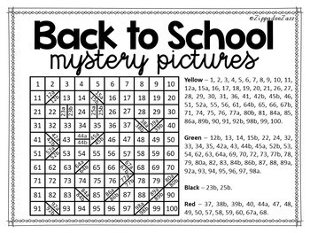 Mystery Pictures for Back to School 100 Chart