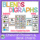 Blends and Digraphs Classroom Posters with Chevron Theme