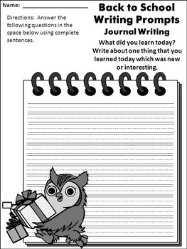 Back to School Language Arts Activities: Back to School Writing Prompts - B/W