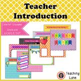 Meet the Teacher -Teacher Intro Resource