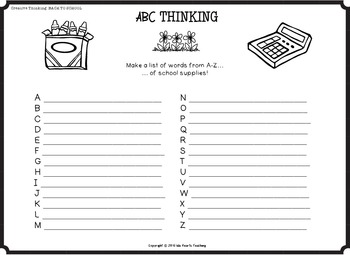 Back to School Worksheets (Creative Thinking Activites - First Week of School)
