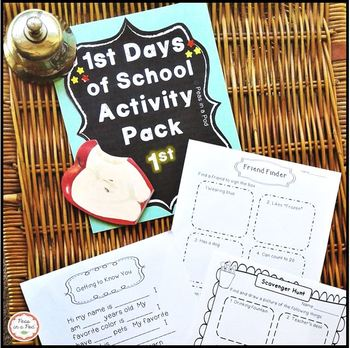 Back to School 1st grade First Day of School Activities for First Grade