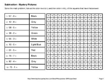 Back to School: 2-Digit - 1-Digit Subtraction - Color-By-Number Mystery Pictures