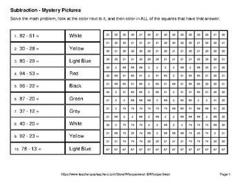 Back to School: 2-Digit Subtraction - Color-By-Number Mystery Pictures