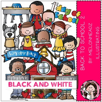 Back to School clip art Part 2 - BLACK AND WHITE - by Melonheadz