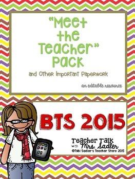 Back to School 2015 Meet the Teacher Pack-Editable