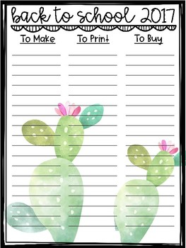 Back to School 2017 To Do Lists