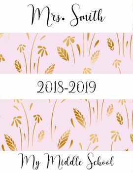 Teacher Binder 2018-2019 Gold Flowers Binder Planner Design