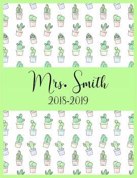 Teacher Binder 2018-2019 Green Cactus Teacher Binder Planner Design