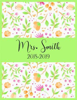 Teacher Binder 2018-2019 Orange Green Pink Binder Planner Design
