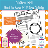 Back to School- 2018 School Year Worksheet for 1st Day of School