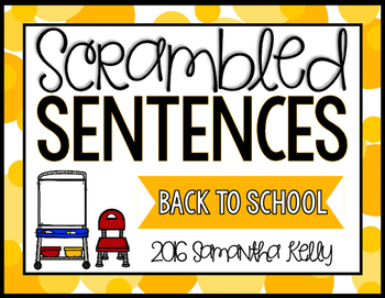 Back to School Scrambled Sentence Station