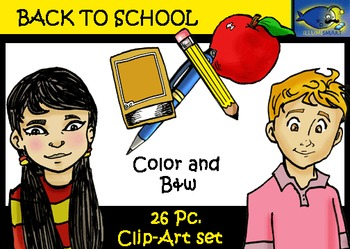 Back to School 26 pc. Clip-Art Set: 13 B&W, 13 Color -Featuring 4 Students!
