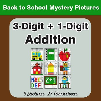 Back to School: 3-Digit + 1-Digit Addition - Color-By-Number Math Mystery Pictures