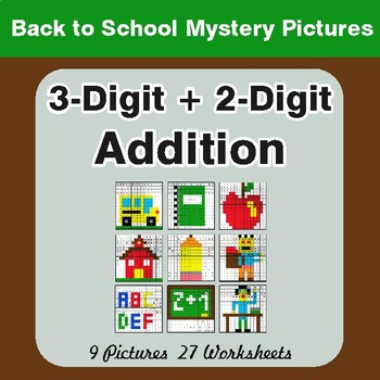 Back to School: 3-Digit + 2-Digit Addition - Color-By-Number Math Mystery Pictures