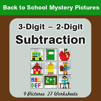 Back to School: 3-Digit - 2-Digit Subtraction - Color-By-Number Math Mystery Pictures