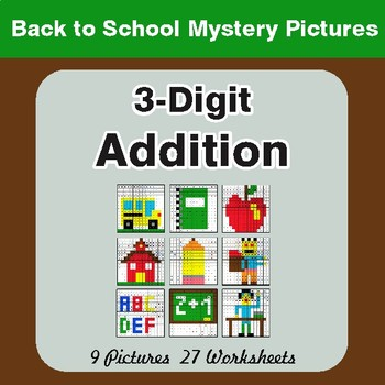 Back to School: 3-Digit Addition - Color-By-Number Mystery Pictures
