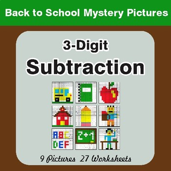 Back to School: 3-Digit Subtraction - Color-By-Number Math Mystery Pictures