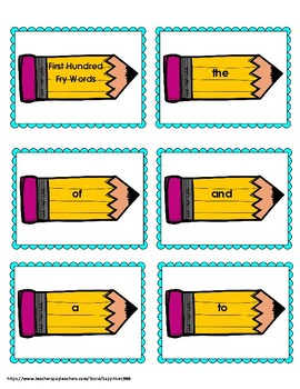 Back to School 300 Fry Sight Words 'Bang' Game