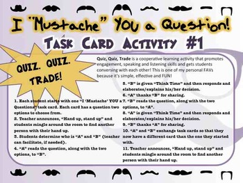 """Back to School: 36 Task Card Set """"I MUSTACHE YOU A QUESTION"""" - FUN"""