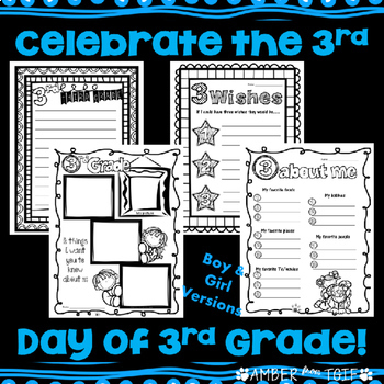 Back to School 3rd Grade (Day 3 Activities) Writing, Math, Word Work, Coloring