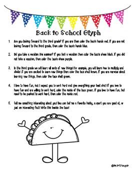 Back to School: 3rd Grade Glyph