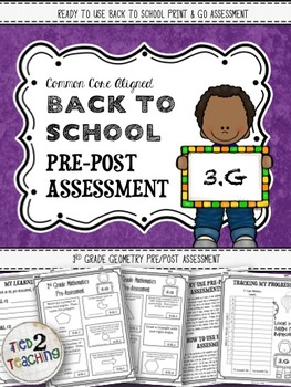 Back to School 3rd Grade Math CCSS Pre/Post Assessment (GEOMETRY)