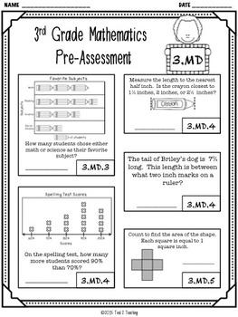 Back to School 3rd Grade Math CCSS Pre/Post Assessment (MEASUREMENT & DATA)