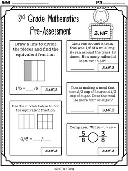 Back to School 3rd Grade Math CCSS Pre/Post Assessment (Numbers Fractions)