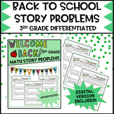 Back to School 3rd Grade Math Story Problems   Distance Learning DIGITAL