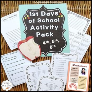 Back to School 4th, 5th, 6th  Grade First Day of School Activities