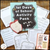 First Day of School Activities 4th 5th 6th Grade | 4th Gra