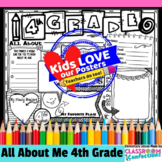 Back to School Activity 4th Grade: All About Me Poster for 4th Graders